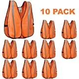 XSHIELD XS0008-10,High Visibility Safety Vest with Silver Stripe,ANSI Class Unrated,Universal Size,Pack of 10 (Orange)