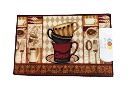 Soho Cafe Coffee Kitchen Rug With Non Skid Back