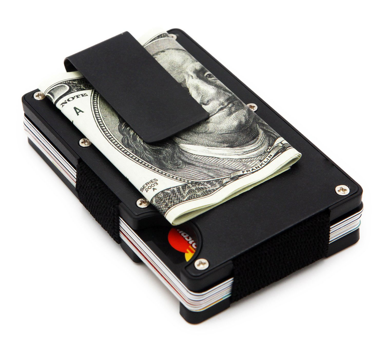 Minimalist Wallet, Slim Wallet & RFID Blocking Front Pocket Wallet, Aluminum Wallet for Men And Women - Black