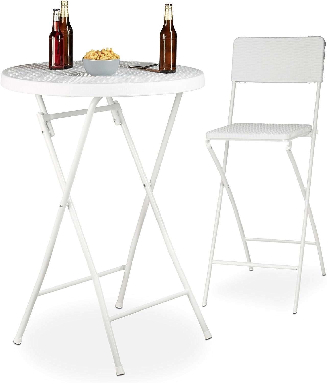 Relaxdays Stehtisch klappbar rund Wetterfest weiß weiß 10022835 Kunststoff Metallgestell Bistrotisch HxBxT: 110 x 80 x 80 cm