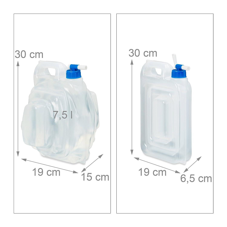 Relaxdays - Bidón de agua para camping, juego de 4 unidades, sin BPA, bidón para agua potable rectangular con grifo y asas, producto de calidad alimentaria, ...