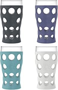 Lifefactory 20-Ounce BPA-Free Indoor/Outdoor Protective Silicone Sleeve Beverage Glass, 4-Pack, Stone Grey, Aqua Teal, Dusty Purple, Carbon