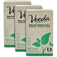 Veeda Natural Cotton Liners, Non-GMO, Hypoallergenic, Folded, 3 Boxes, 40 Count Each