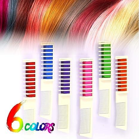 Haarfarbe Kamm, Huttoly Temporär Haarkreide-Set Kreide Kamm Haar Colorationen Instant Einmalige Hair Chalk mit Handschuhe und