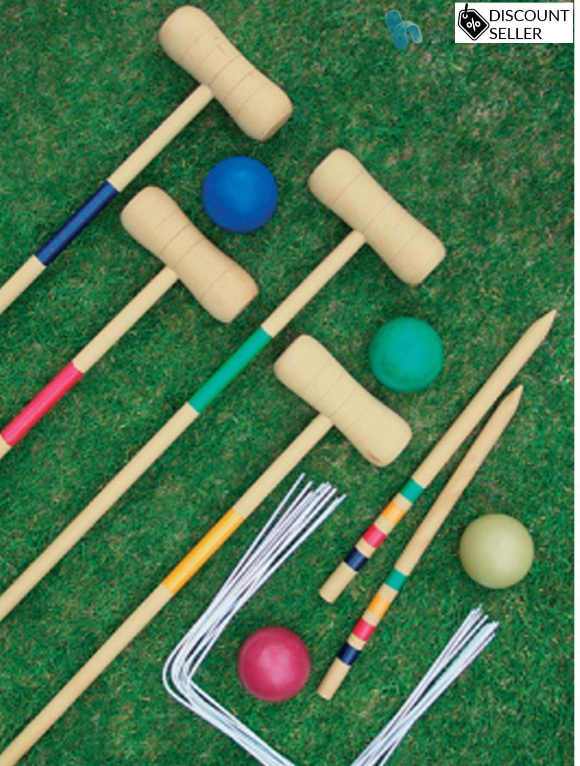 DiscountSeller CROQUET SET 4 PLAYER COMPLETE WOODEN OUTDOOR GARDEN TOY FUN COMES WITH CARRY BAG