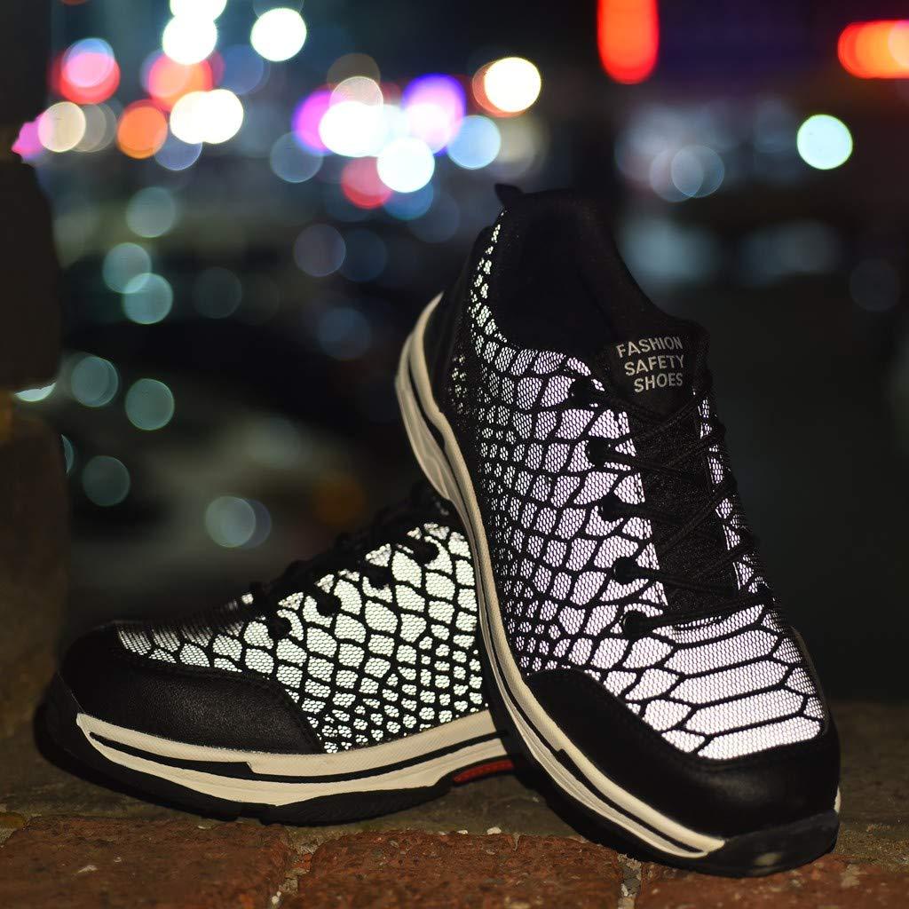 Lovygaga Fashion Couple Men Women Comfy Outdoor Mesh Labor Insurance Shoes Breathable Safety Luminous Shoes Black