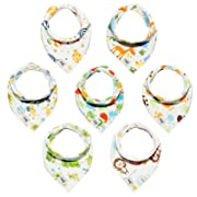 Baby Bandana Drool Bibs Unisex 7-Pack Gift Set for Drooling and Teething - Absorbent and Soft 100% Cotton with Adjustable Snaps for Girls and Boys by Junior