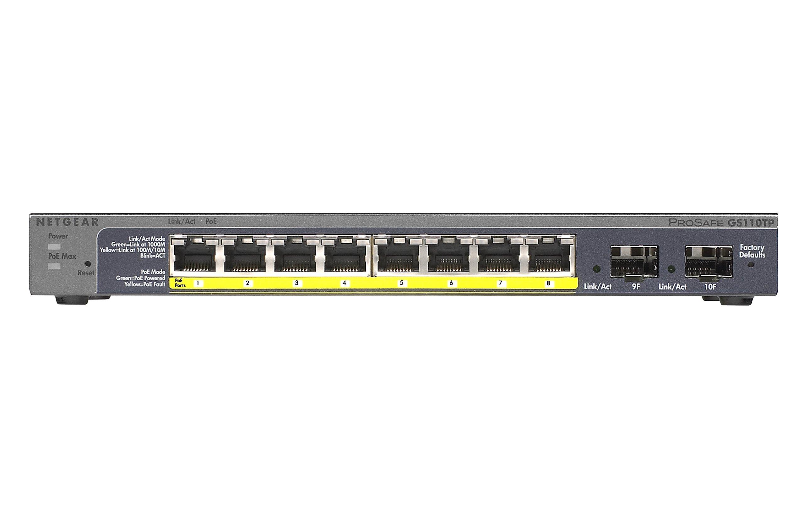 NETGEAR 8-Port Gigabit Smart Managed Pro Switch, 53w, PoE, ProSAFE Lifetime Protection (GS110TPv2) by NETGEAR (Image #2)
