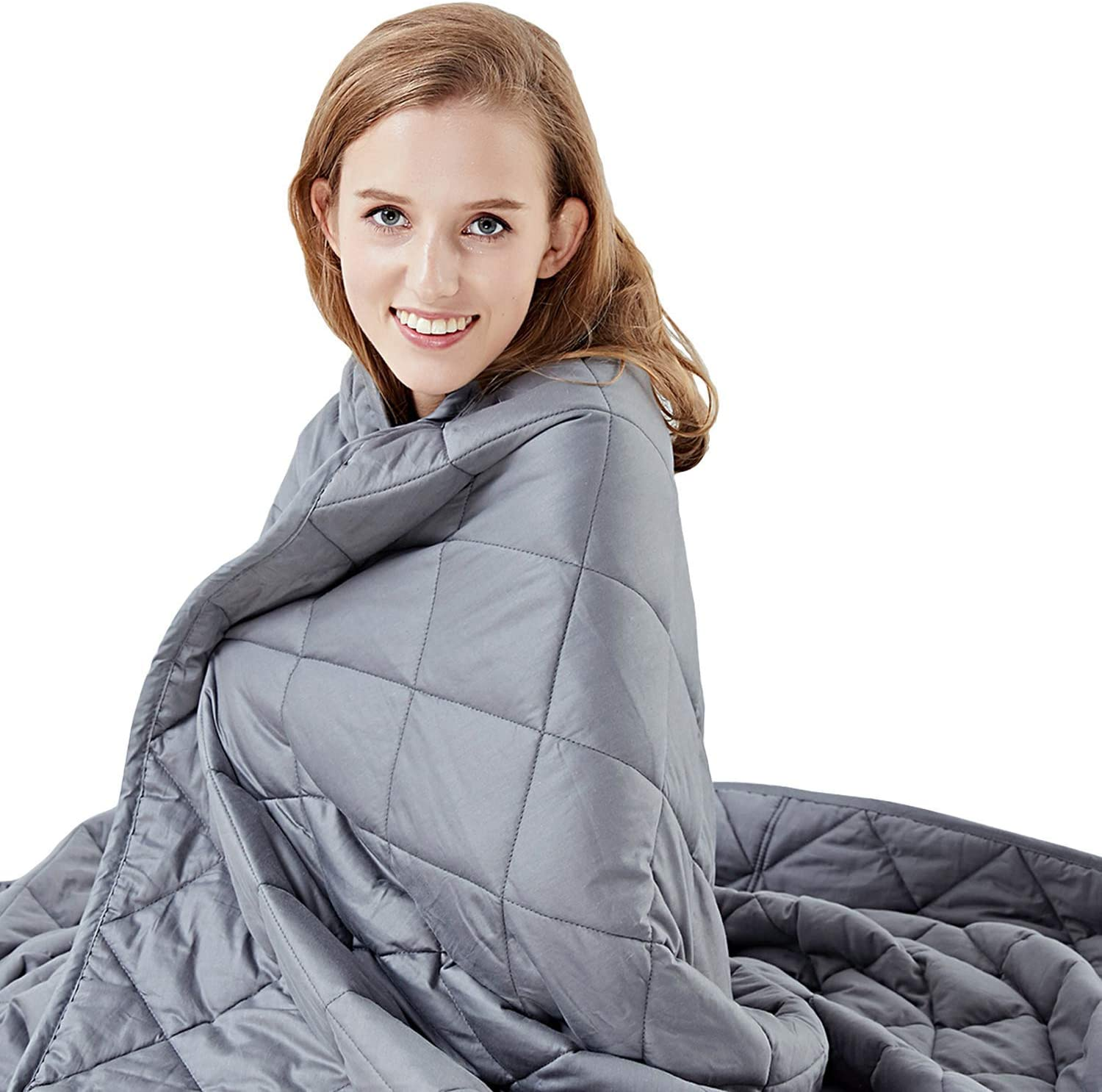 """Hypnoser Weighted Blanket (12 lbs, 60""""x80"""") for Kids, Adults   2.0 Diamond Weight Pocket Heavy Blanket   100% Breathable Material with Glass Beads"""