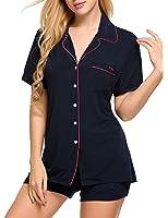 Ekouaer Pajamas Women's Short Sleeve Sleepwear Soft PJ Set XS-XXL