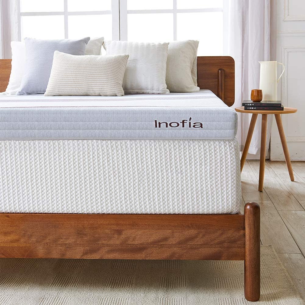 Inofia Mattress Topper 3 Inch Gel Infused Memory Foam Mattress Pad Ventilated Removable Cover with CertiPUR-US Foam (Full): Home & Kitchen