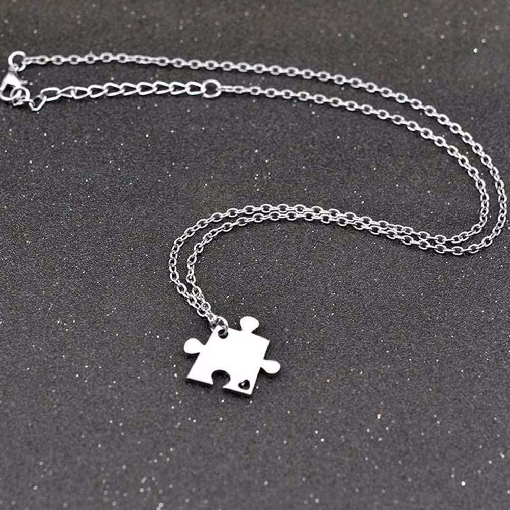 4 Pcs Puzzle Best Friends Forever Necklace Engraved Heart Charm Pendant Set BFF Friendship Necklace