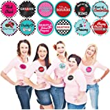 Big Dot of Happiness 50's Sock Hop - 1950s Rock N Roll Party Funny Name Tags - Party Badges Sticker Set of 12