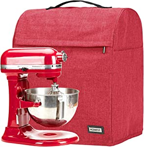 HOMEST Stand Mixer Dust Cover, Storage Bag with Pockets Compatible with KitchenAid Tilt Head & Bowl Lift Models (Fit for Bowl Lift 5-8 Quart, Red)