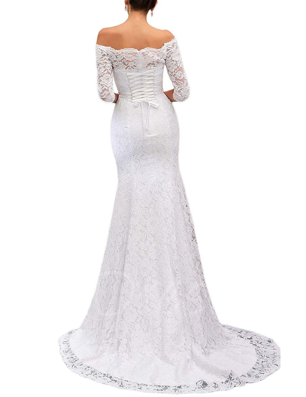 LOKEY Women's Mermaid Lace Off The Shoulder Long Wedding Dress Bridal Gown (16, Ivory) by LOKEY