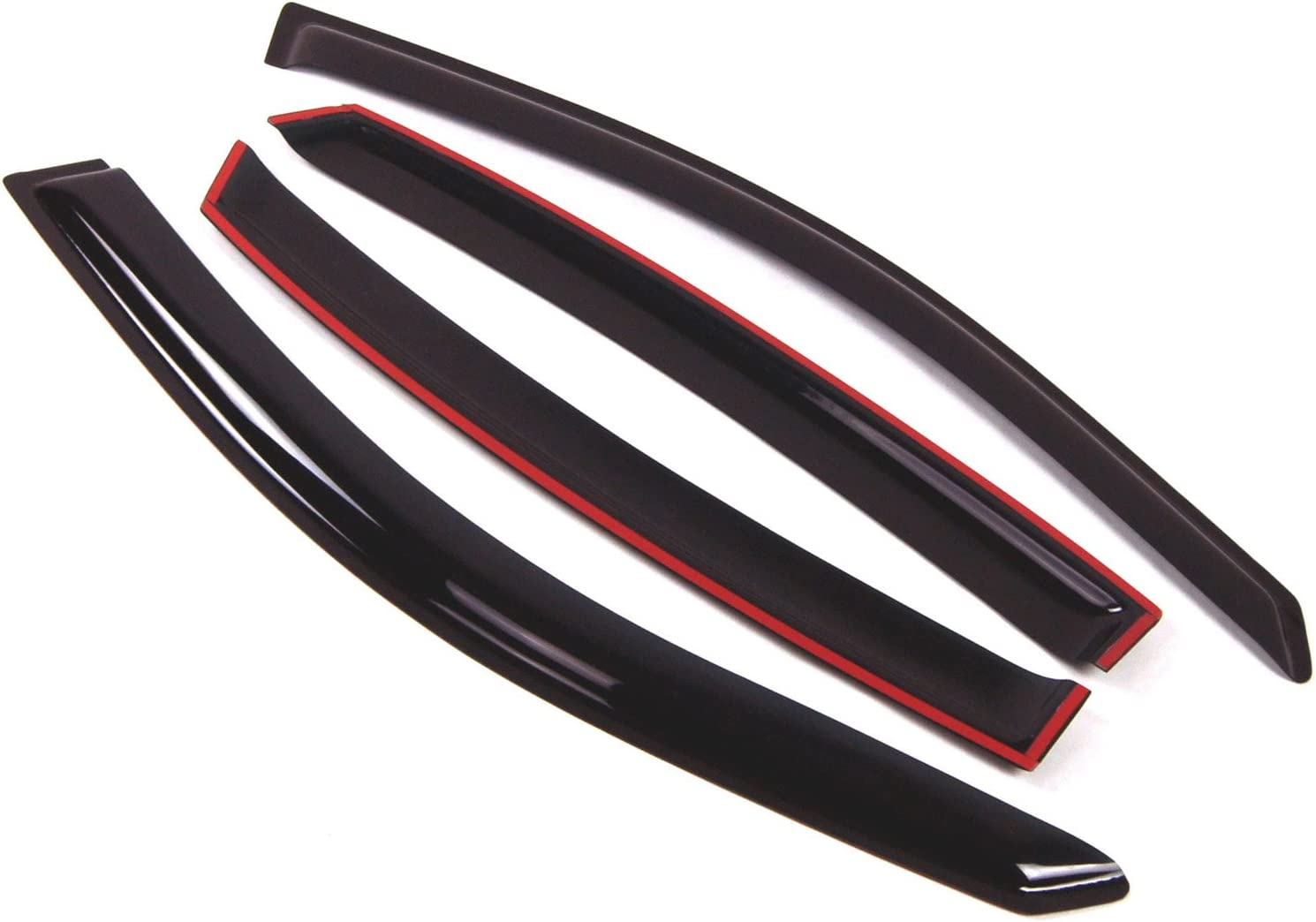 TuningPros DGWV-011 Out-Channel Window Visor Deflector Rain Guard Smoke Tinted 4-pc Set