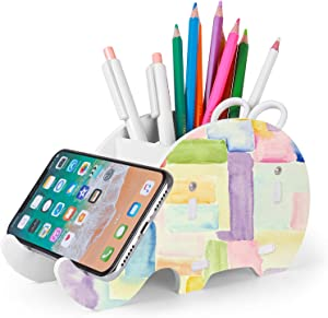 Desk Supplies Organizer, Mokani Cute Elephant Pencil Holder Multifunctional Office Accessories Desk Decoration with Cell Phone Stand Office Supplies Desk Decor Organizer Christmas Gift, Magic Paint