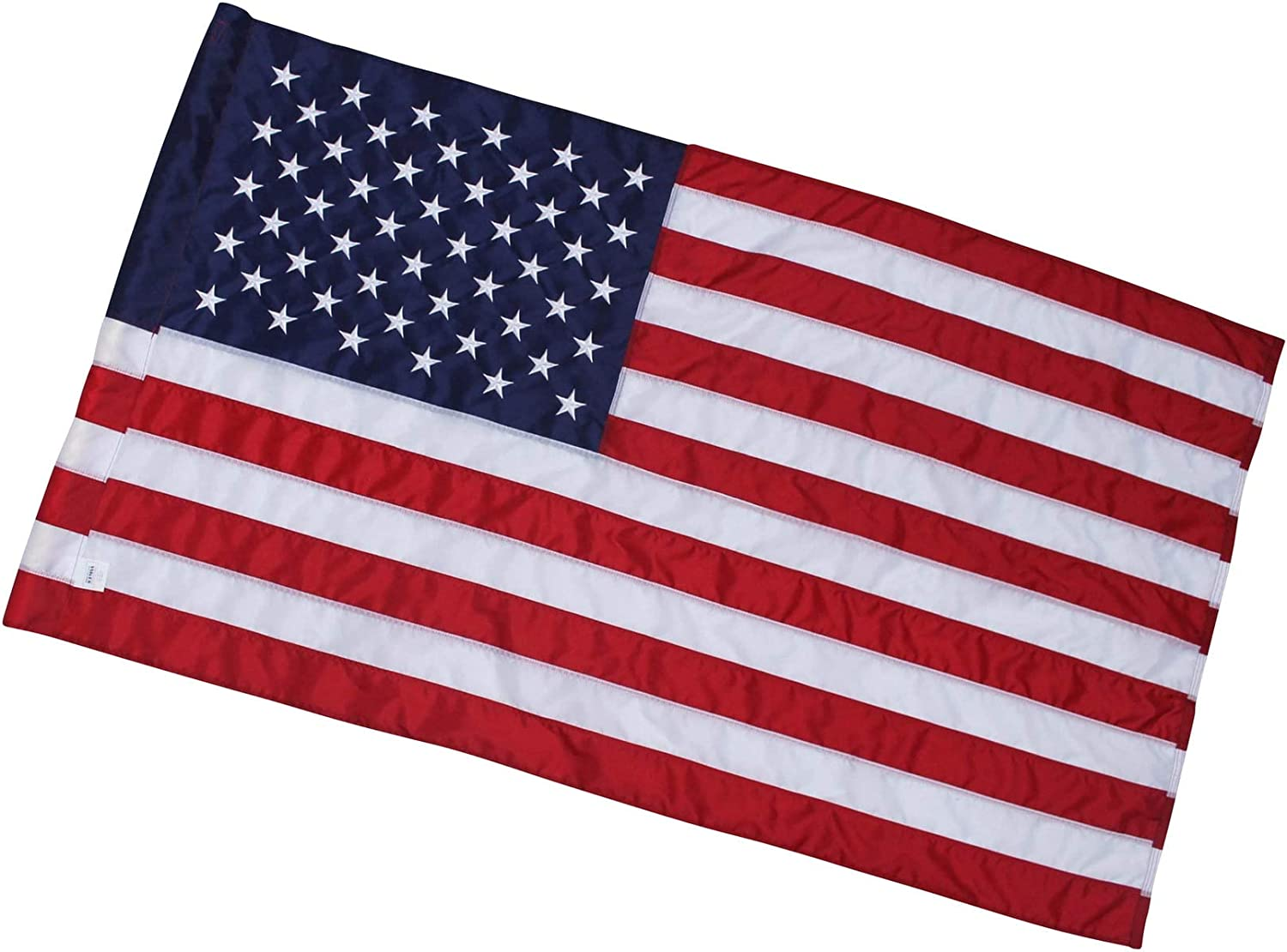"3x5 Ft American Flag - Pole Sleeve Header | 100% Made in USA | 3'x5' US Flag in Heavy Duty Outdoor Nylon - UV Fade Resistant - Premium Embroidered Stars, Sewn Stripes, and 2"" Pole Hem"