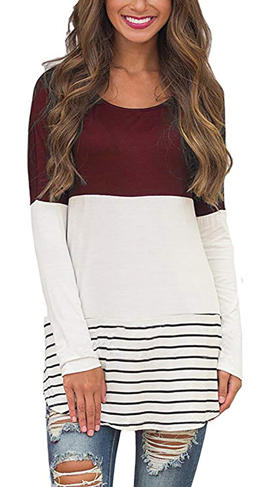 Tunics for Women Long Sleeve Cotton Crewneck Comfy Fit Tee Contrast Colors T-Shirts Tops (M, Wine Red)