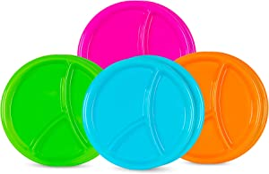 (Set of 8) Divided 3-Compartment Plastic Plates for Kids/Adults - Reusable (2 of each color)