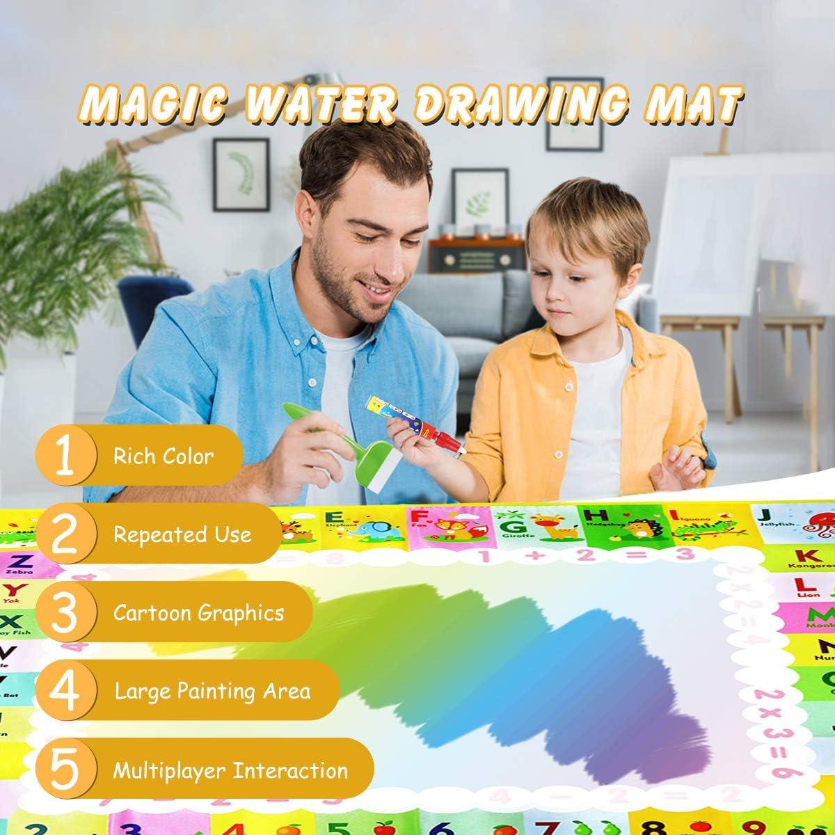 FancyWhoop Tapis Aquadoodle Super Grande 120 x 90cm R/éutilisable Tapis Dessin Eau Magique Color/é Tapis Doodle Peinture Mats avec Divers Accessoires