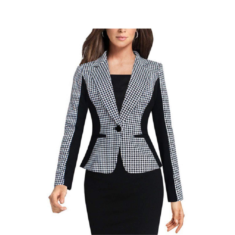 f164ebad5d2 Kongsta Women Suits Autumn Plus Size 3XL Office Work Wears Slim Black White  Blazer and Cardigans Ladies Jackets at Amazon Women s Clothing store