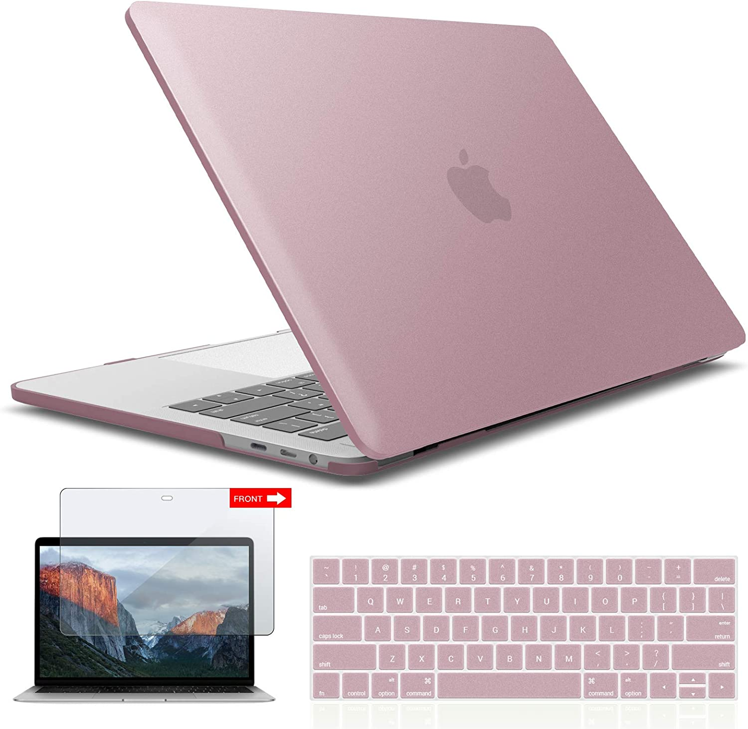 IBENZER MacBook Pro 13 Inch Case 2019 2018 2017 2016 A2159 A1989 A1706 A1708, Hard Shell Case with Keyboard & Screen Cover for Apple Mac Pro 13 Touch Bar, Rose Gold, T13MPK+2A