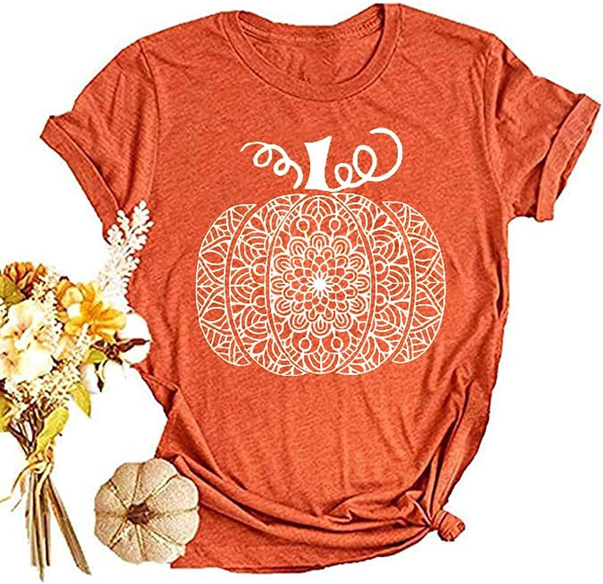 Beopjesk Womens Mandala Pumpkin T-Shirt Fall Halloween Short Sleeve Graphic Tees Tops