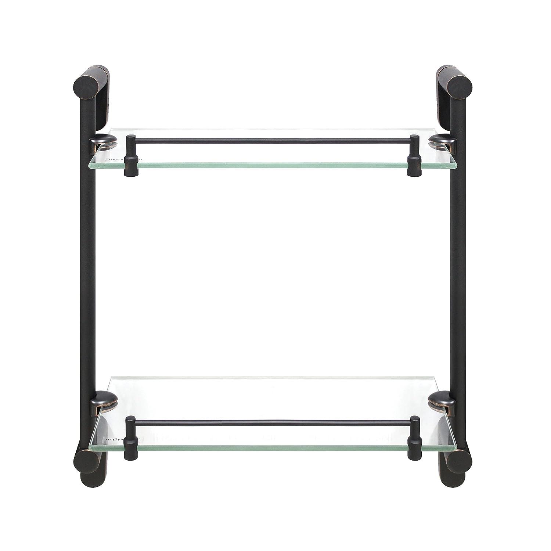 MODONA Double Glass Shelf with Rail – Polished Chrome – Oval Series - 5 Year Warrantee Modona Bathroom Company 8966