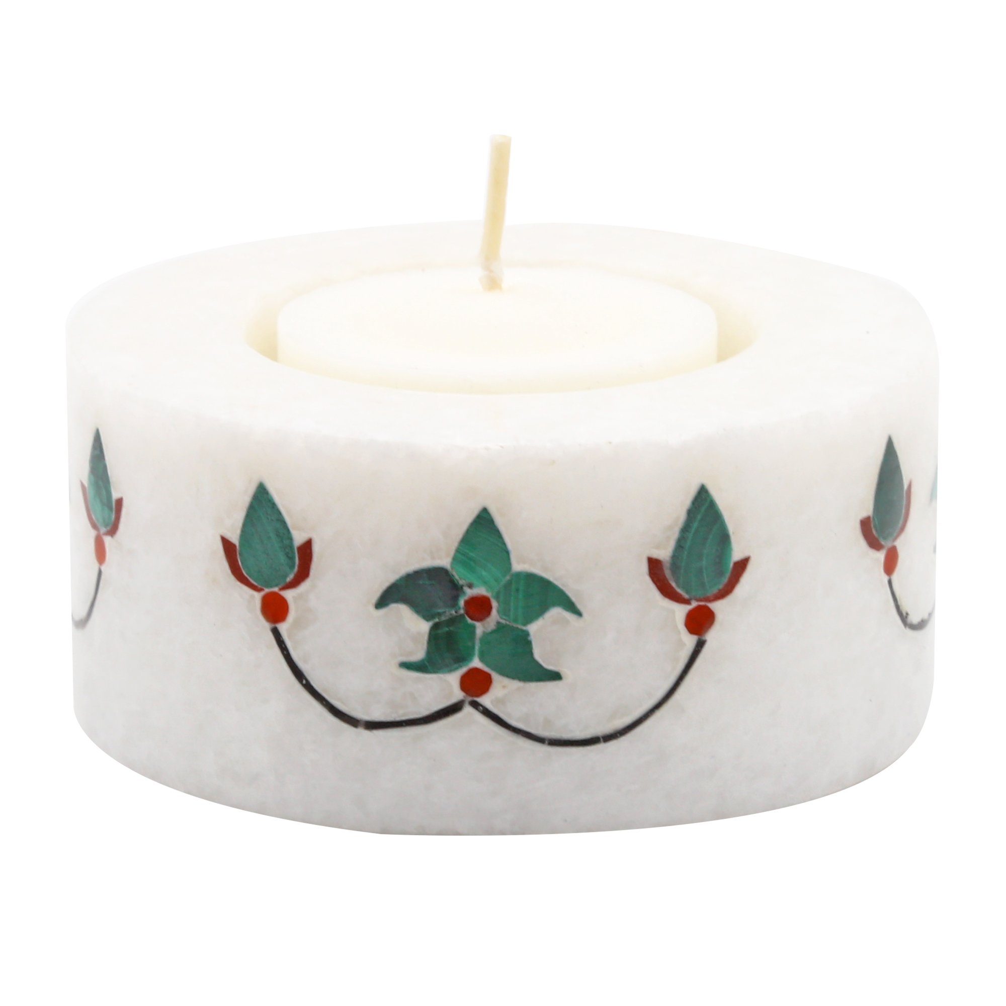 Reevaria Pietra dura Marble Candle Stand - Tealight Round - Handcrafted Design and Inlaid with pure natural and Semi Precious Stones - Perfect Christmas Gift