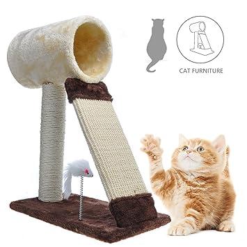 Miyare Gato Arbol Pequeño, Árbol para Gato con Rascador de 33cm: Amazon.es: Productos para mascotas