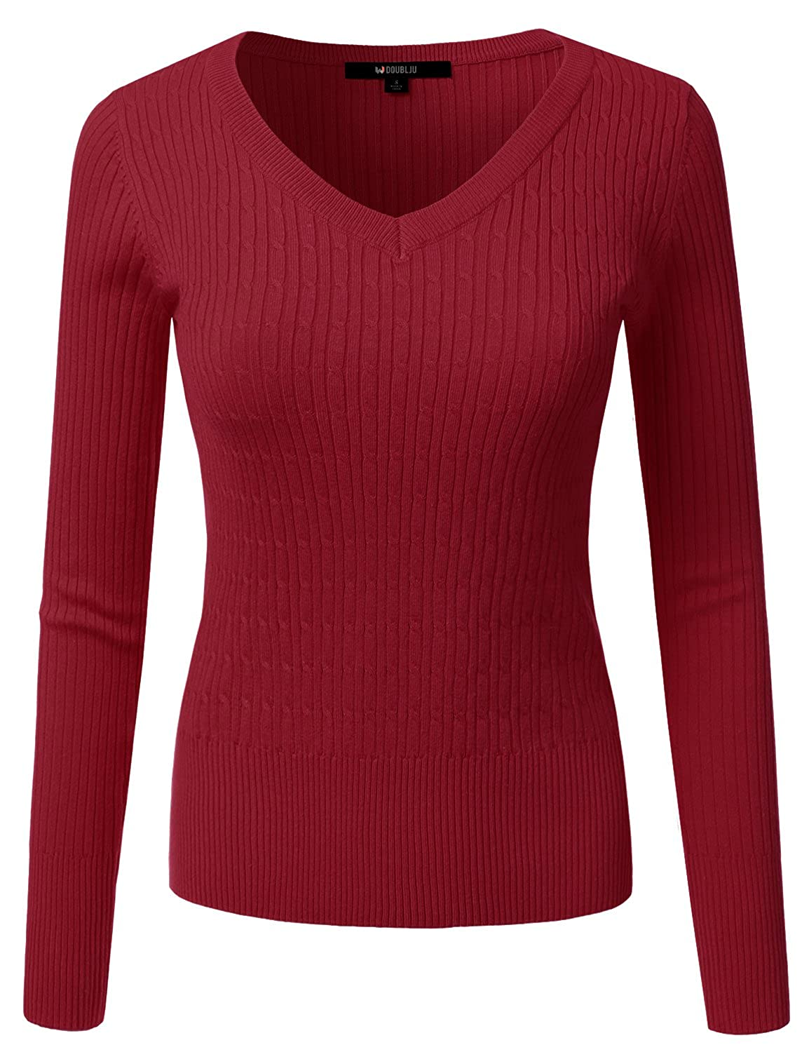 Awoswl0226_darkred Doublju Slim Fit Twisted Cable Knit VNeck Sweater For Women