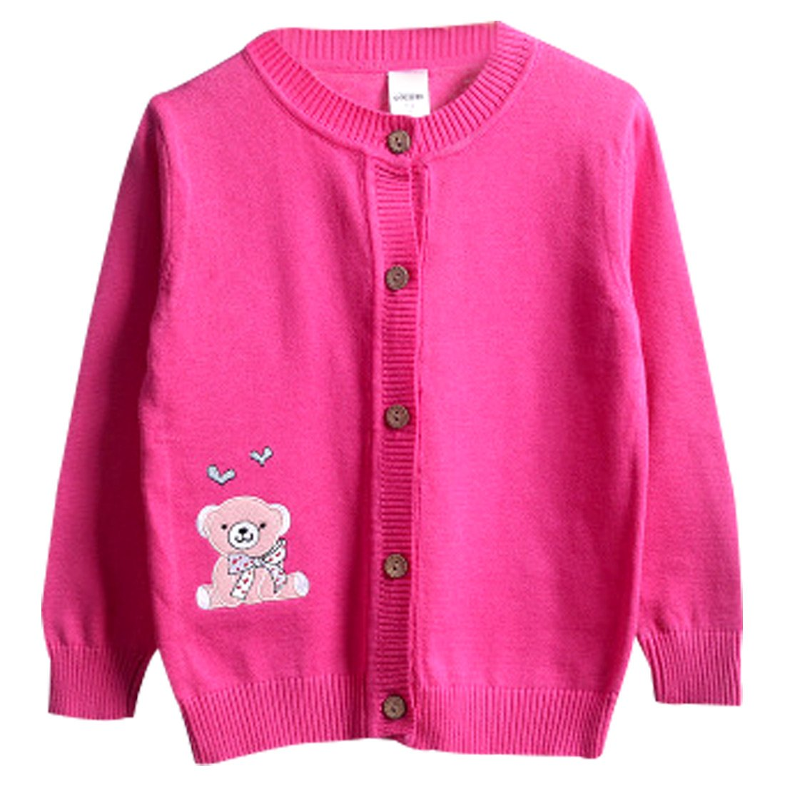 FULL BLESSING Girl Spring Cardigan Button-up Sweater with Cute Bear 3 Color 5 Size