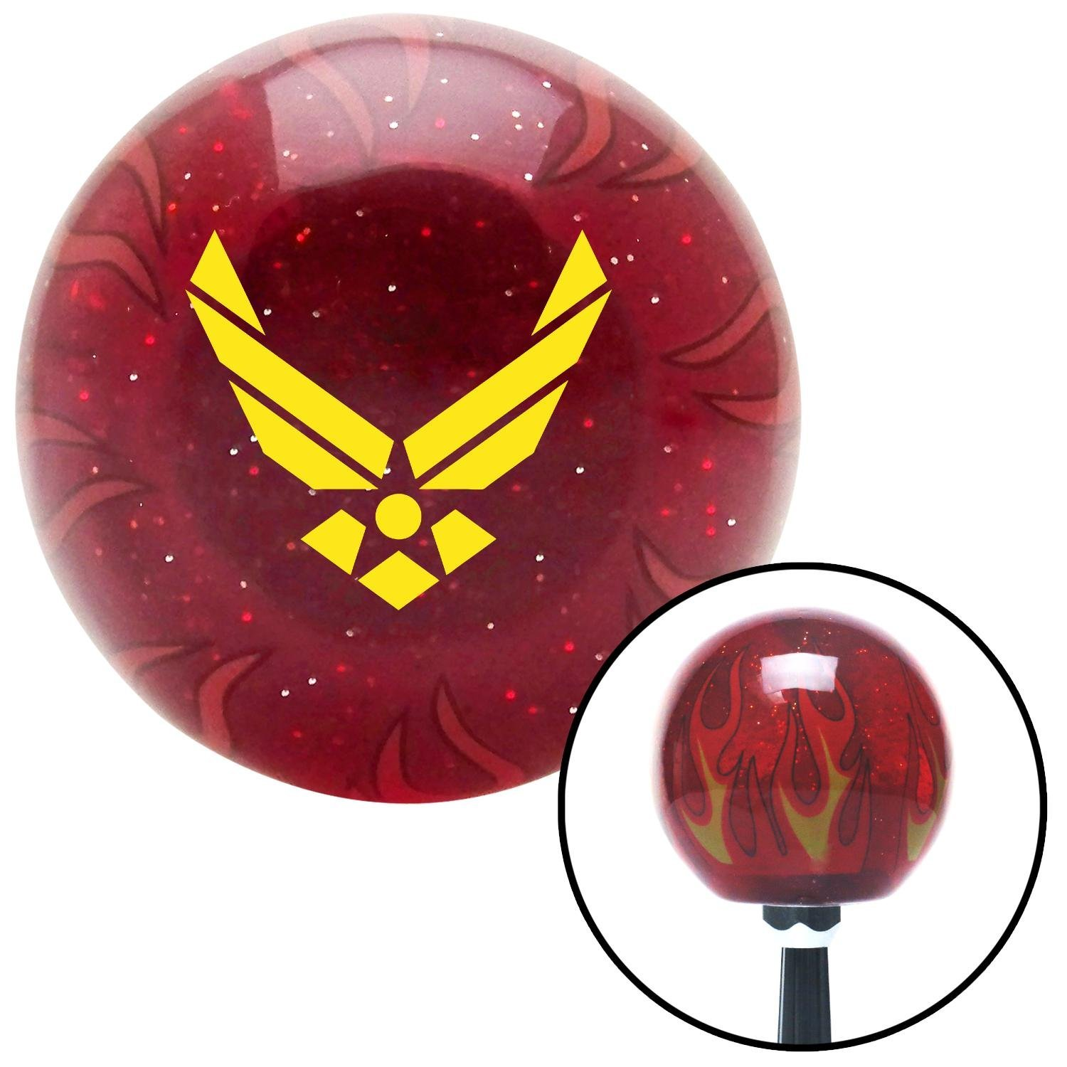 American Shifter 237919 Red Flame Metal Flake Shift Knob with M16 x 1.5 Insert Yellow The Air Force Symbol