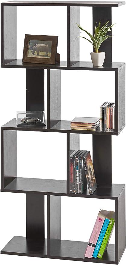 ts-ideen Estantería Alta de Pared 130x60 cm Librero CD-DVD en color Negro
