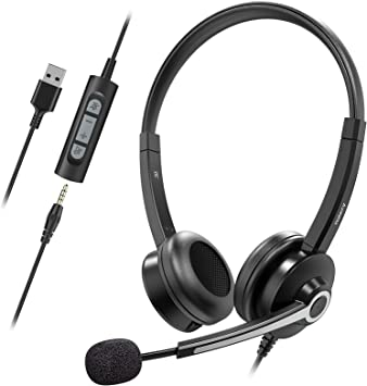 Nulaxy USB Headset with Microphone, 3.5mm Jack Headphones with Noise Cancelling Microphone