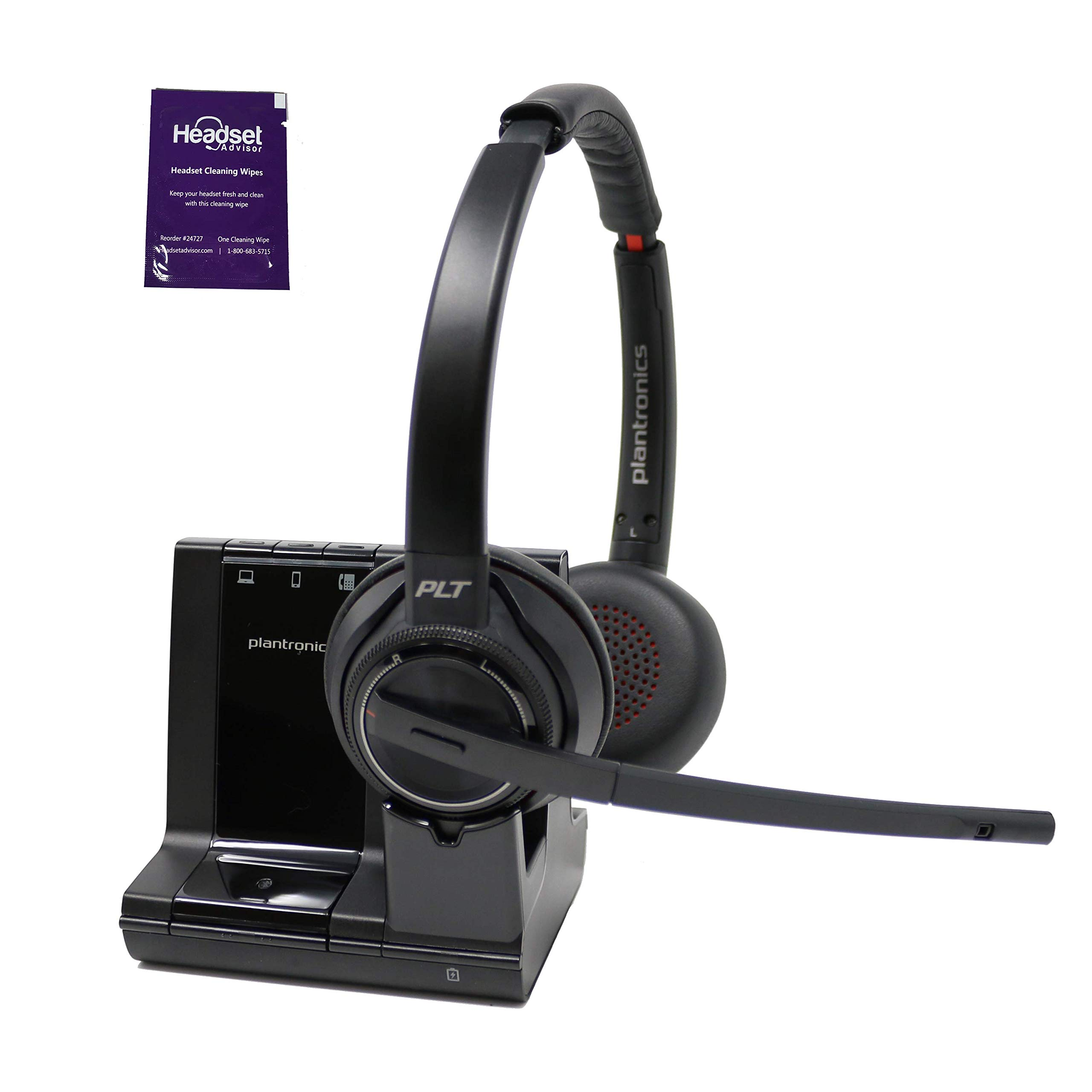 Plantronics Savi 8220 Wireless Headset System Bundle with Headset Advisor Wipe