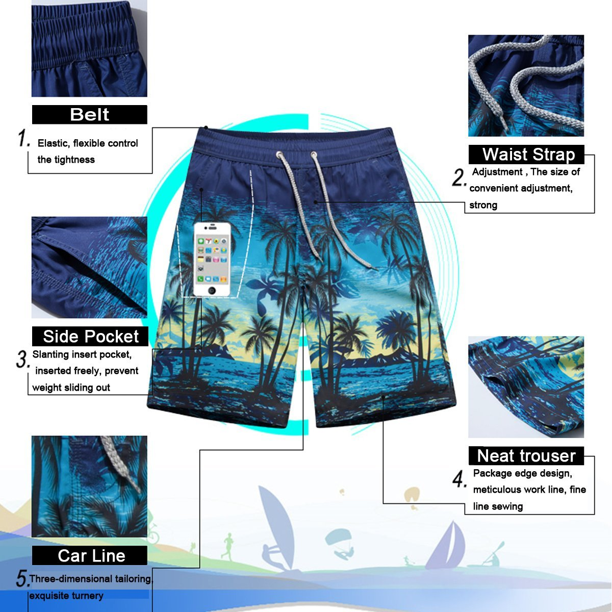 Moon Math Girls Blue On Grey Mens Swimming Trousers Quick-Drying Beach Polyester Shorts