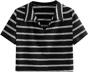 SweatyRocks Women's Collar Crop Top Short Sleeve Stripe Cropped Tee T-Shirt Top