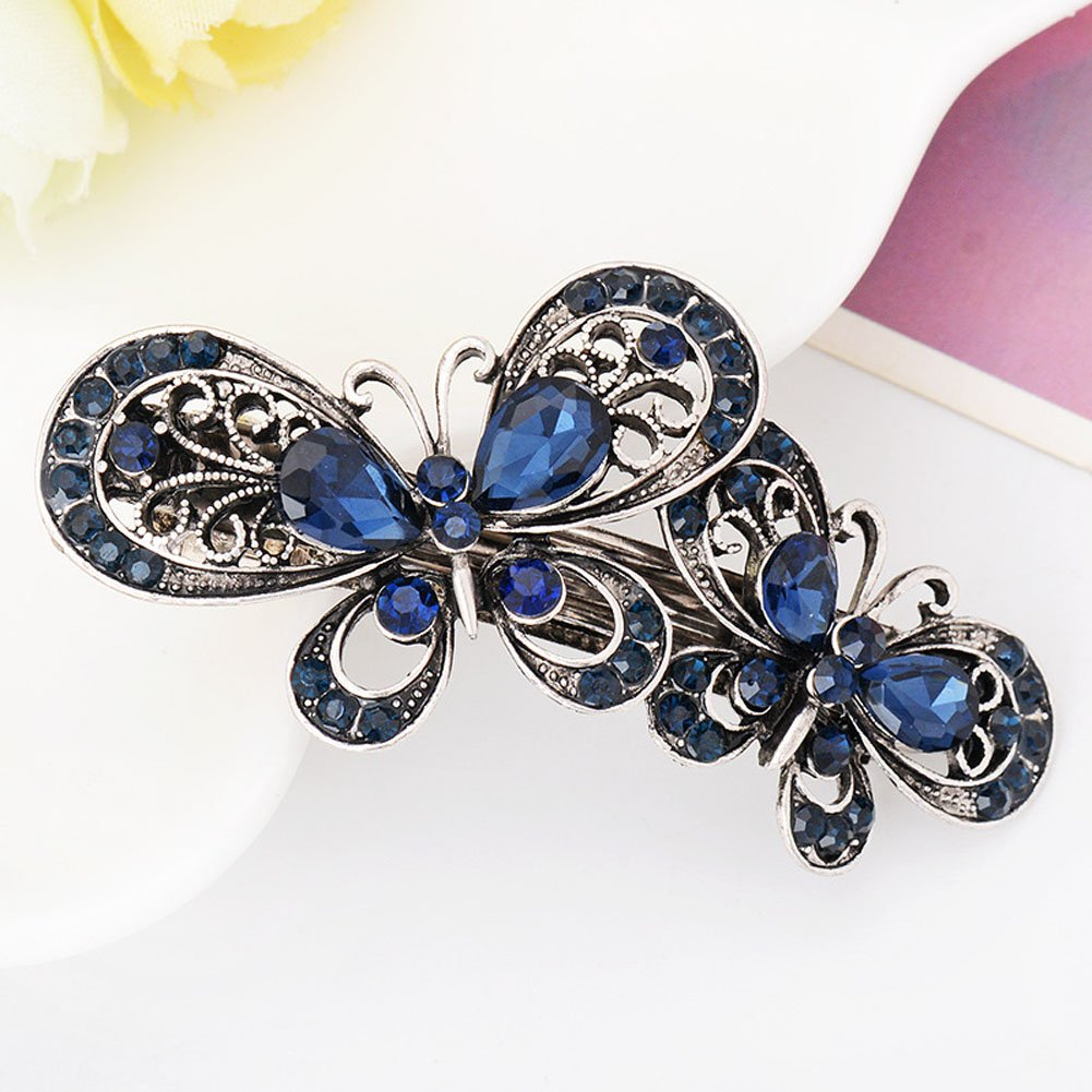 Vintage Metal Alloy Crystal Rhinestone Fancy Spring Hair Clip Pins - Fashion Retro Chic Butterfly Bowknot Style Hair Catch Barrette Plate Hair Clip Hair Accessories for Women and Girls (A#) Numblartd