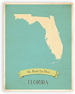 My Roots Florida Personalized Wall Map 08x10 Inch Print, Kid's Florida Map Wall Art, Children's Florida Vintage State Map, FL Wall Art Print, Nursery Decor, Nursery Wall Art
