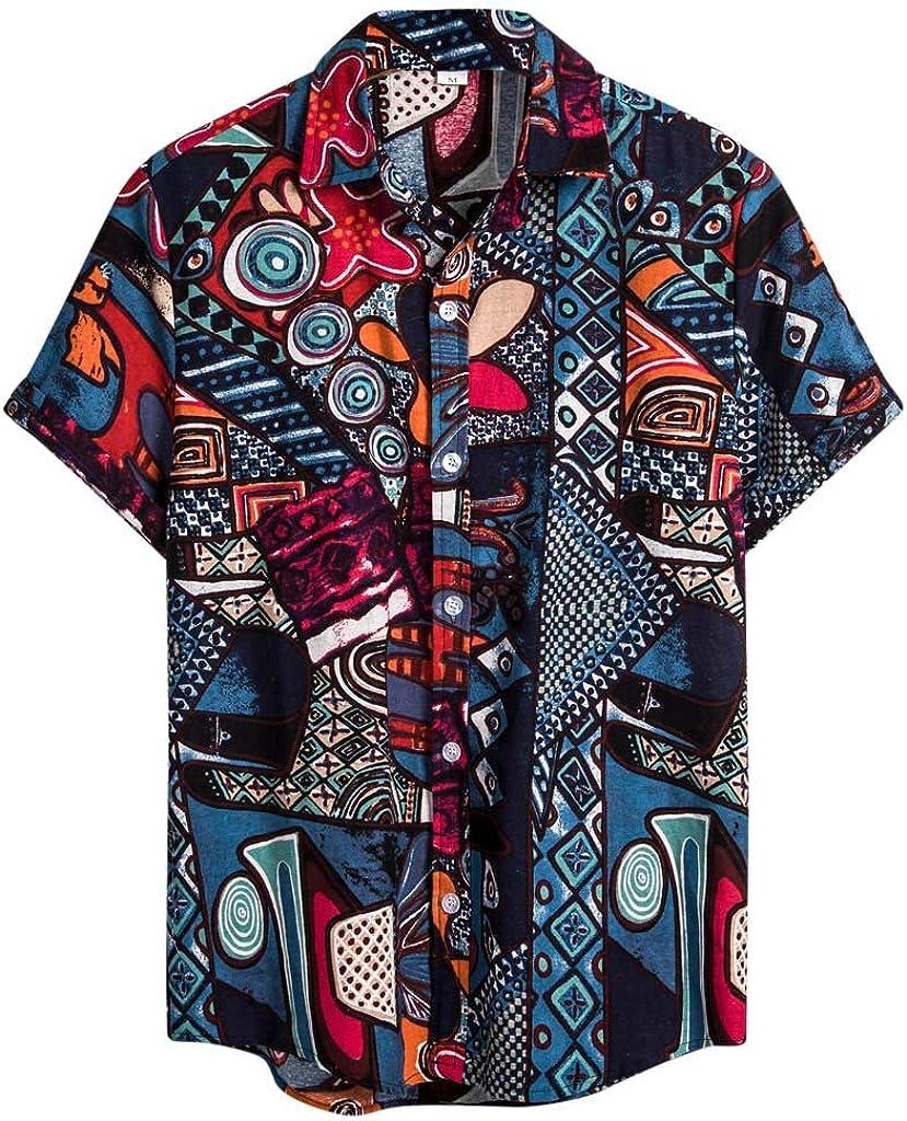 LEKODE Men Blouse Fashion Printed Beach Cotton Linen Button Lapel T-Shirt