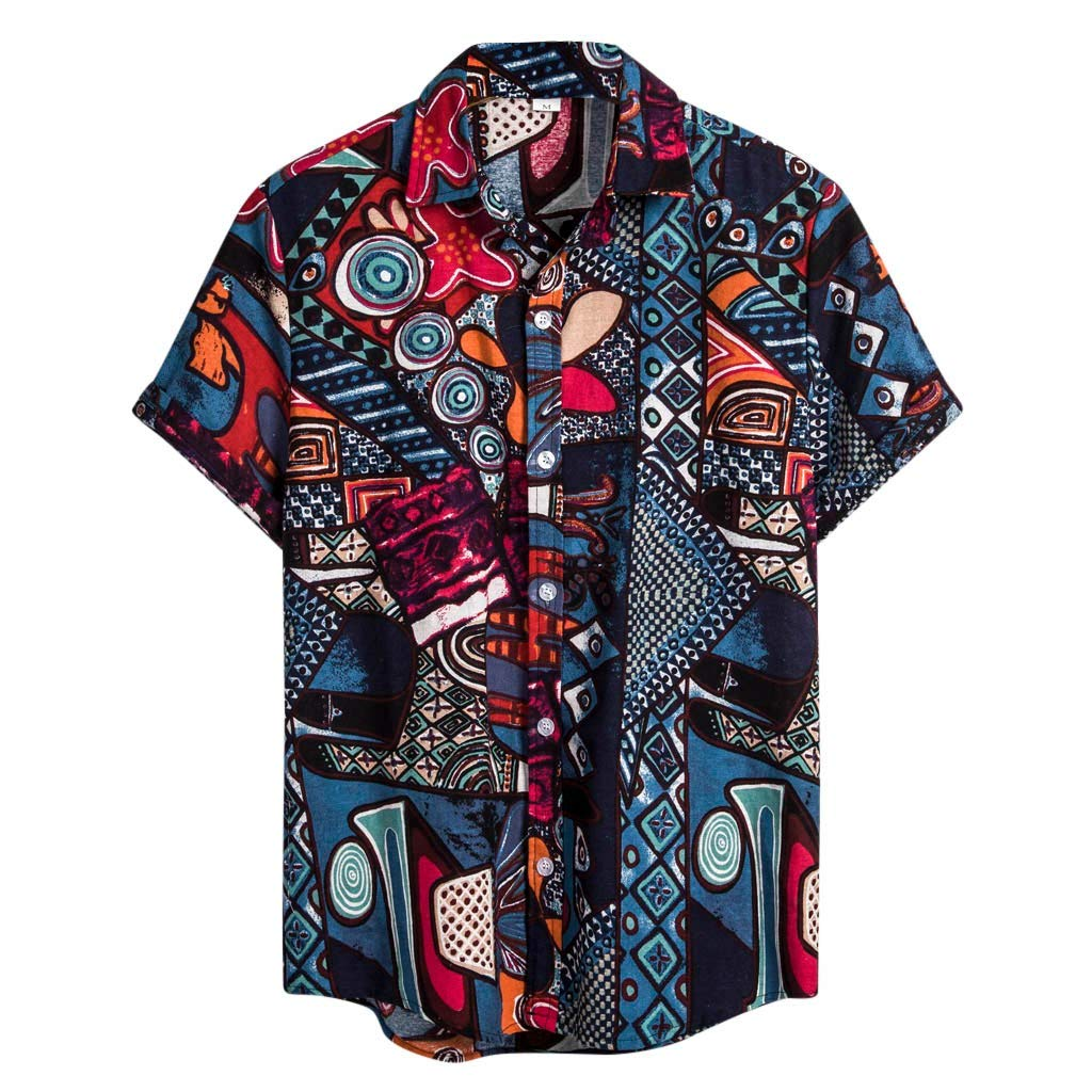 Mens Ethnic Style Shirts Short Sleeve Casual Cotton Linen Shirt Printing Hawaiian Blouse