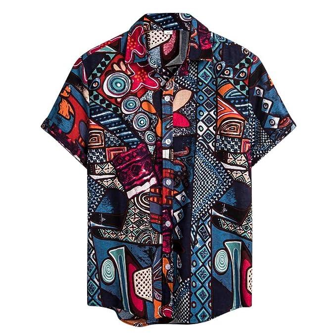 Mens Vintage Shirts Ethnic Printed Turn Down Collar Top