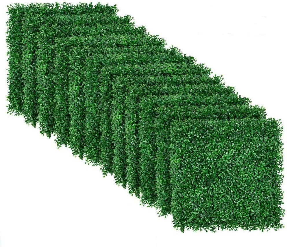 """Amagabeli 4 Layers Leaves Artificial Boxwood Panels Topiary Hedge Plant UV Protected Privacy Hedge Screen High-Density Greenery Panels Grass Decor Indoor Outdoor 12 Pieces 20""""x20"""" Backdrop Green Wall"""