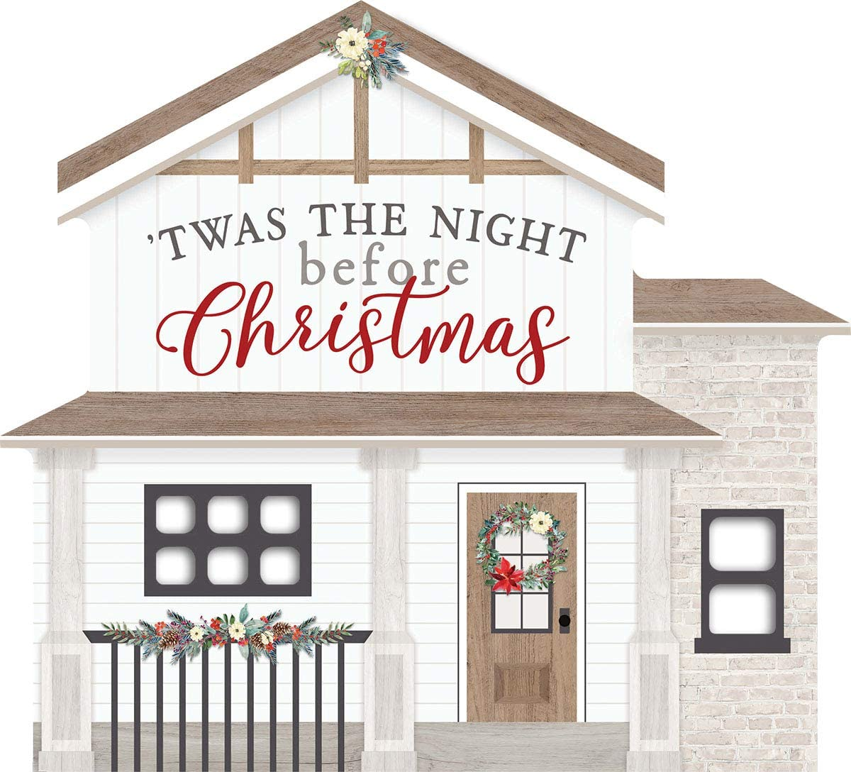P Graham Dunn TWAS The Night Before Christmas Winter White 8 x 7.25 Wood Christmas Shape Sign