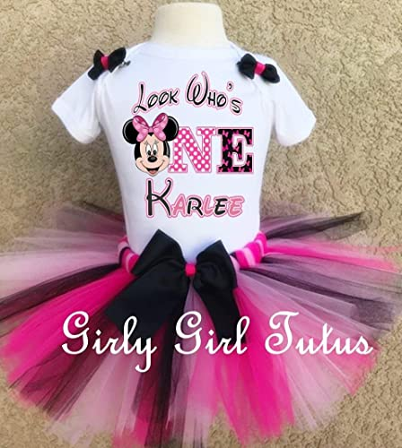 203f21c17 Amazon.com: Minnie Mouse 1st Birthday Custom Outfit Tutu Set: Handmade