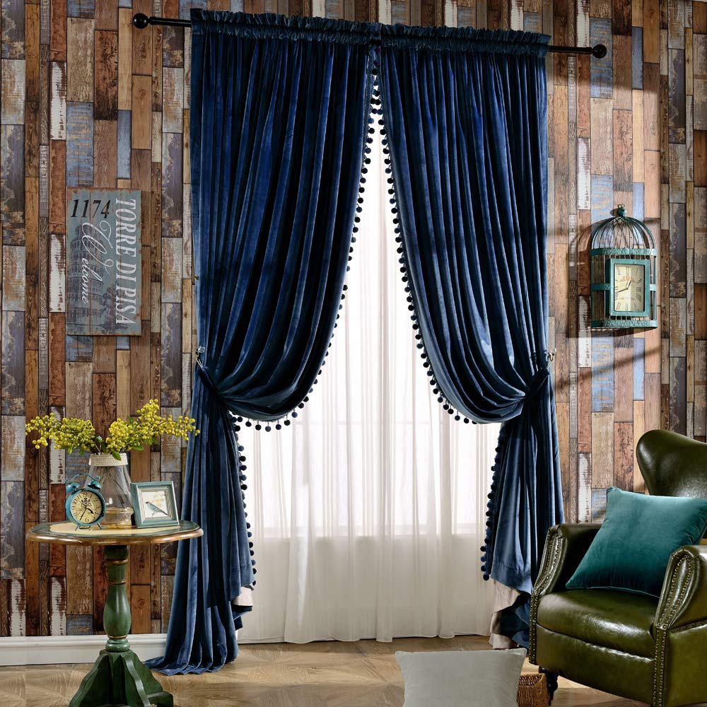Melodieux Luxury Pom Poms Velvet Curtains for Bedroom Living Room Thermal Insulated Rod Pocket Drapes, 52x84 Inch, Royal Blue (1 Pair)