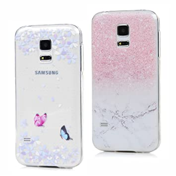 2 x Funda para Samsung Galaxy S5 Minie,Carcasas Flexible TPU Silicona Transparente Ultra Fina Ultra Ligero Gel Shock-Absorción,Anti-Arañazos y ...