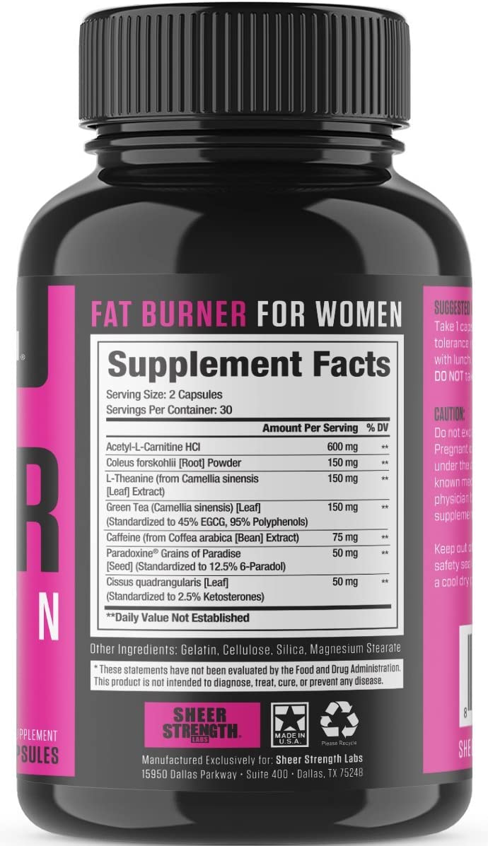 Sheer Fat Burner for Women 2.0 – Fat Burning Thermogenic Supplement, Metabolism Booster, and Appetite Suppressant Designed for Women – Sheer Strength Labs, 60 Weight Loss Pills